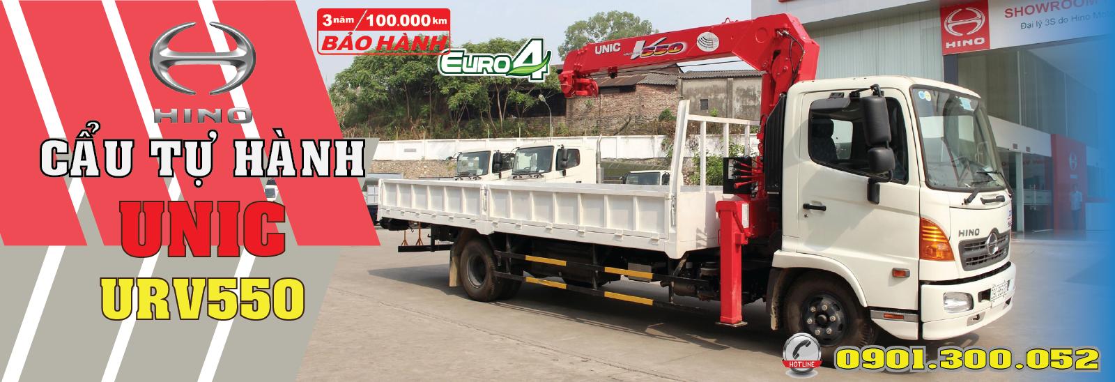 Hino gắn cẩu unic urv550 5 tấn